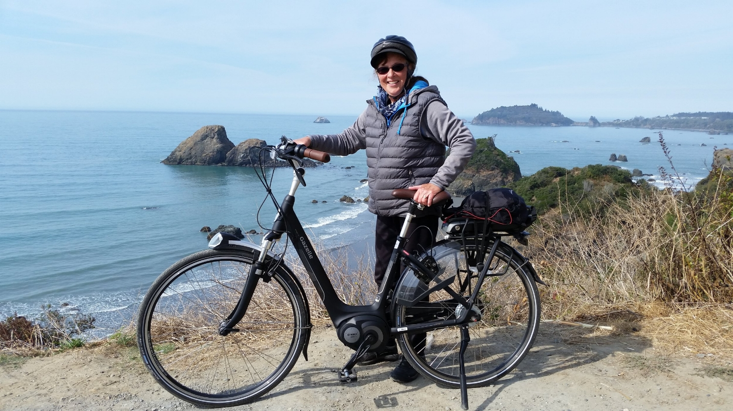 Joan Watanabe with her Gazelle Arroyo C8 on the Northern California coast