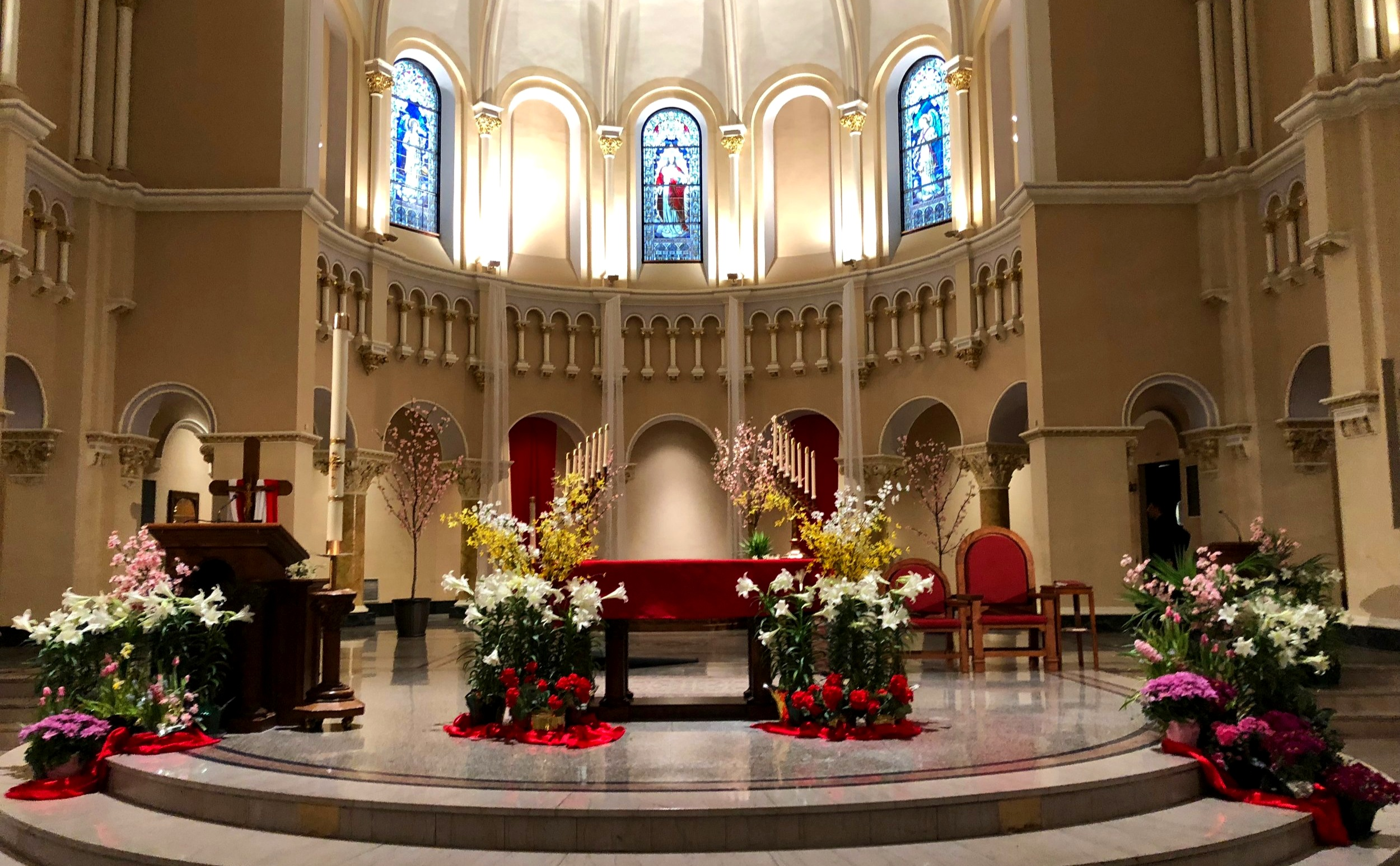 Flowers around the altar for Confirmation Mass, Easter Season 2018.