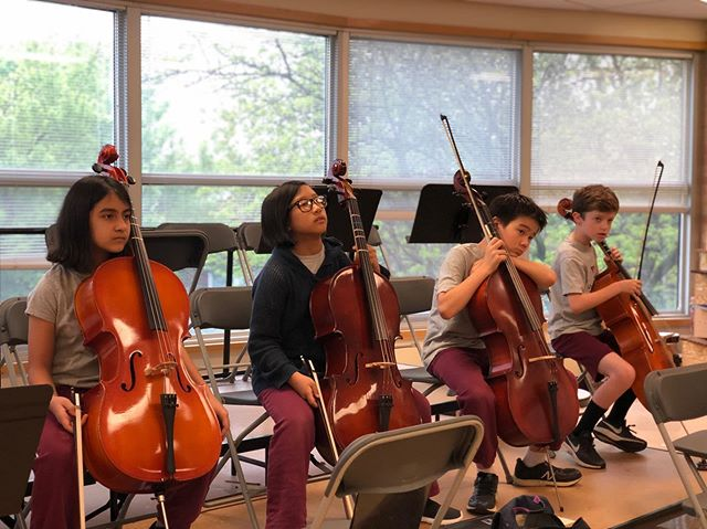 7:15am rehearsal with elementary strings. Join us tonight at 5:30pm for our annual spring concert! #strings #orchestra #concert #catholicschool #chicagocatholic #catholic #cello #violin #music #saintbensmusic #livemusic