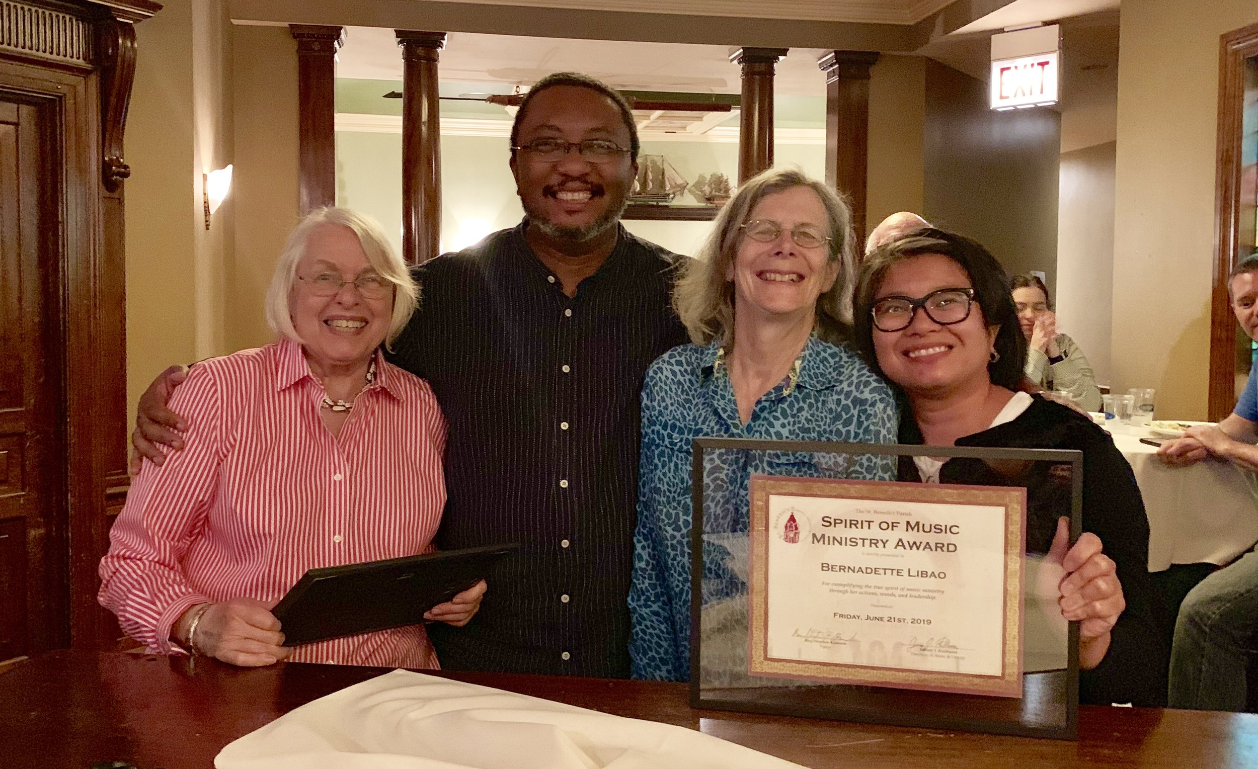 Past and present award winners, left to right: Jeanette Heiner, Collin Hunters, Ann Ryan, Bernie Libao