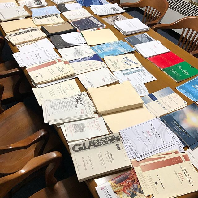 "Phase one of ""operation choral thunder"" complete: disassemble folders and sort the choral octavos from last year. #operationchoralethunder #choirmusic #octavos #choir #chorus #choralemusic #singing #churchmusic #musicalscore #catholicmusic #chicagocstholic #saintbensmusic #stbenschicago"