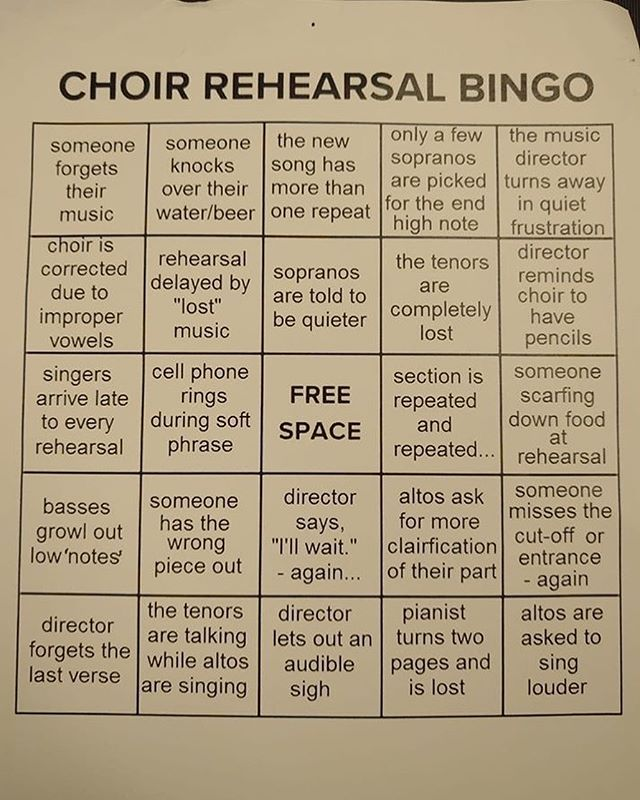 Maybe we should play this at rehearsal next week...