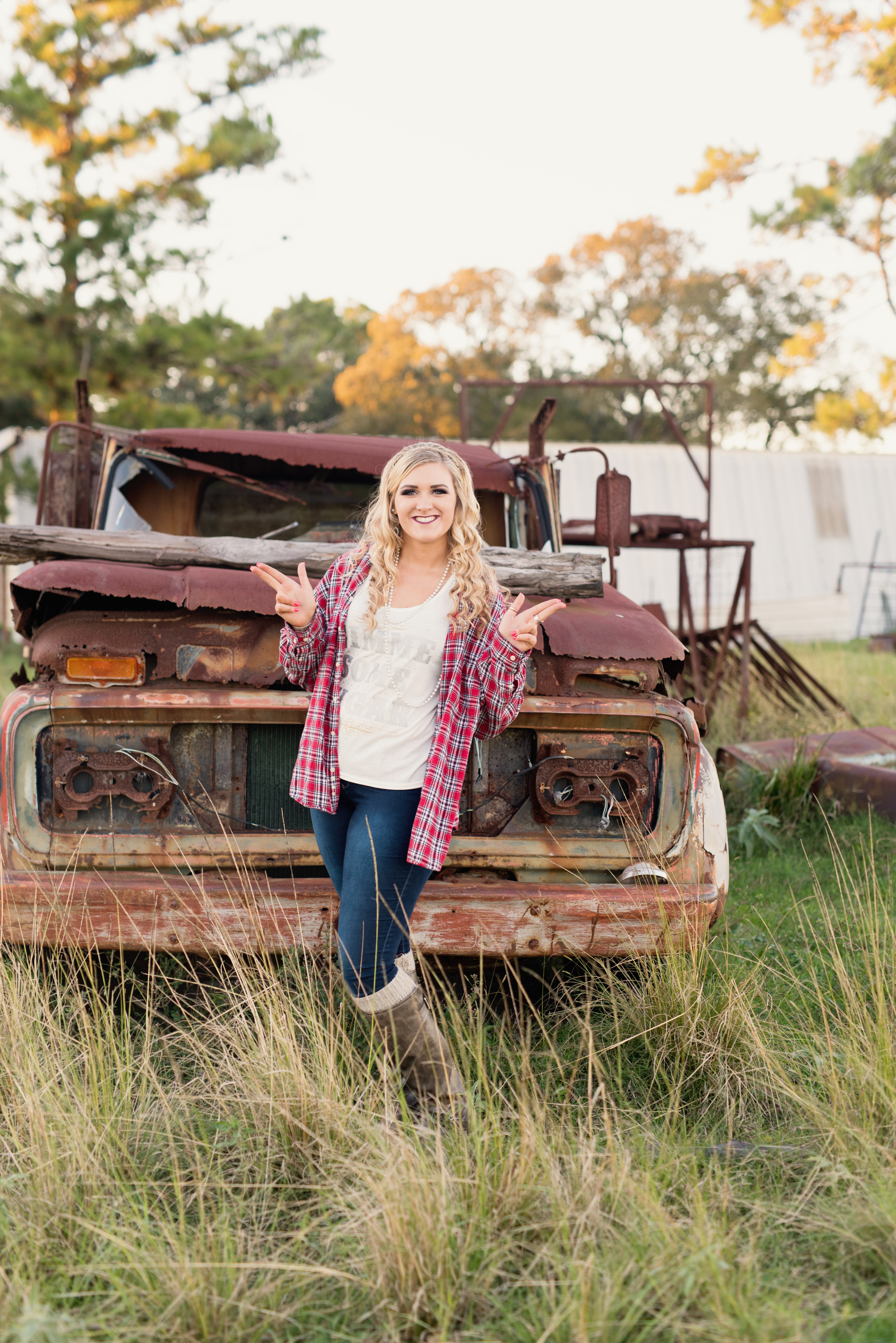 Tarleton State Senior Photo with rusty old truck