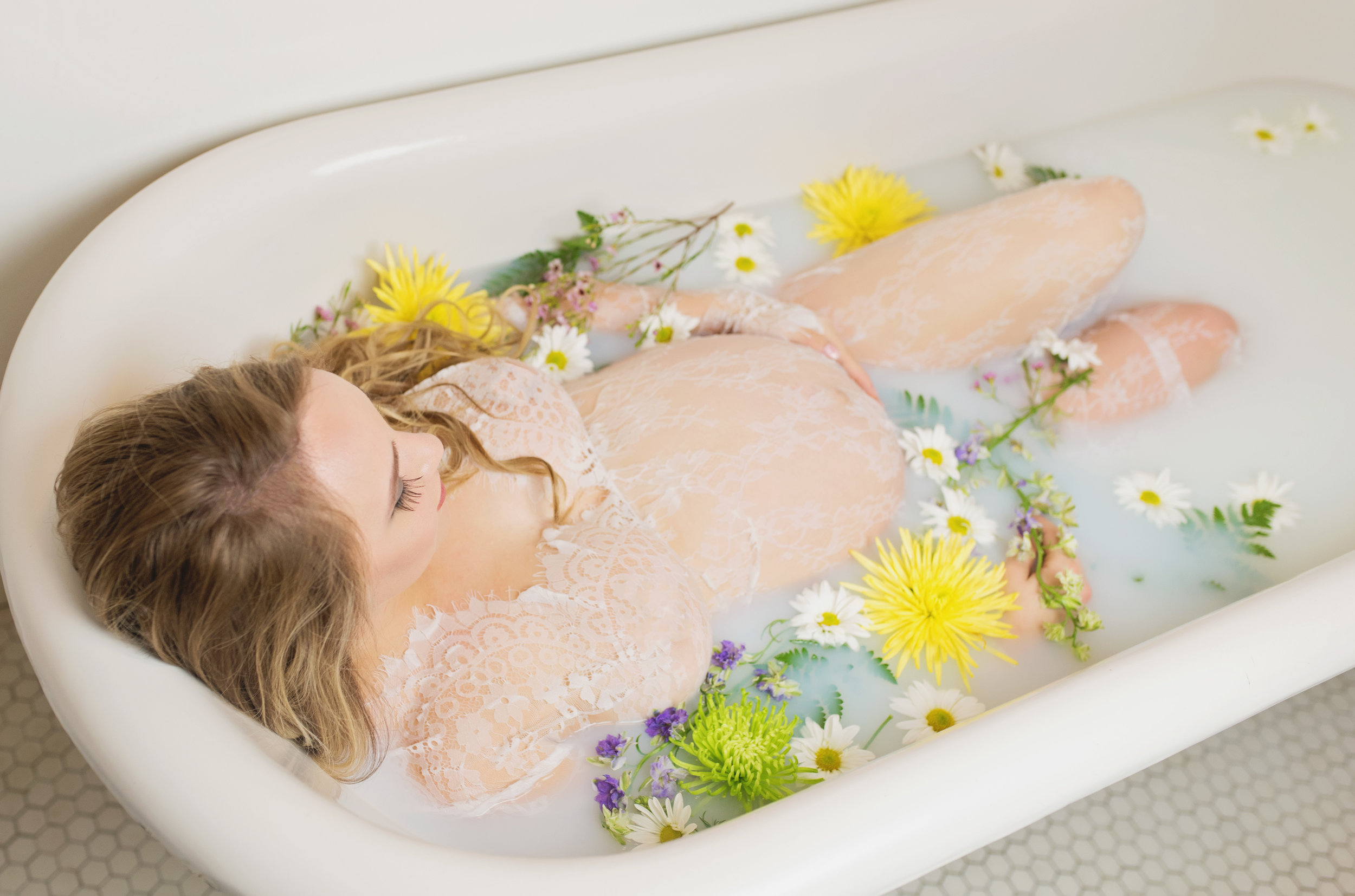 milk bath maternity photo session