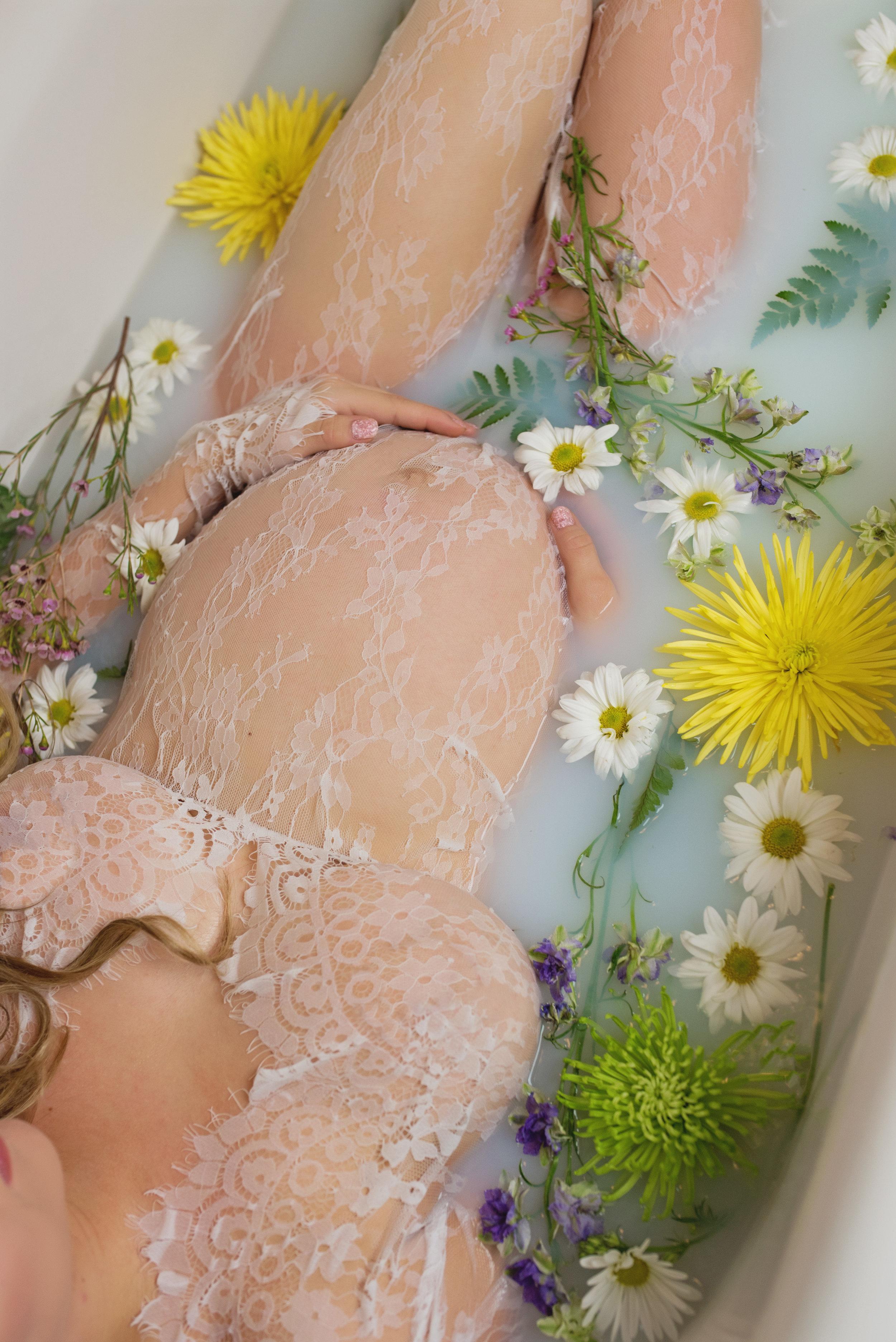 milk bath maternity photographer