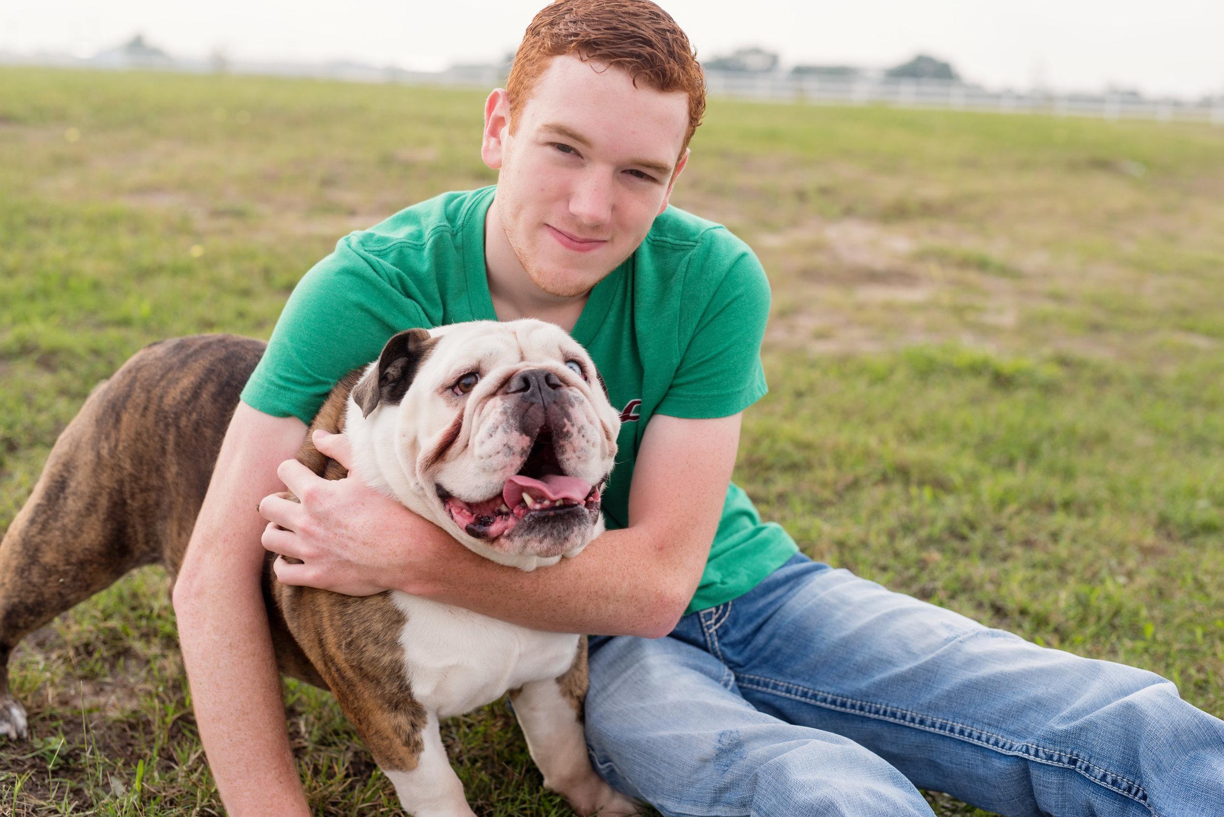 senior photos with dog el campo texas