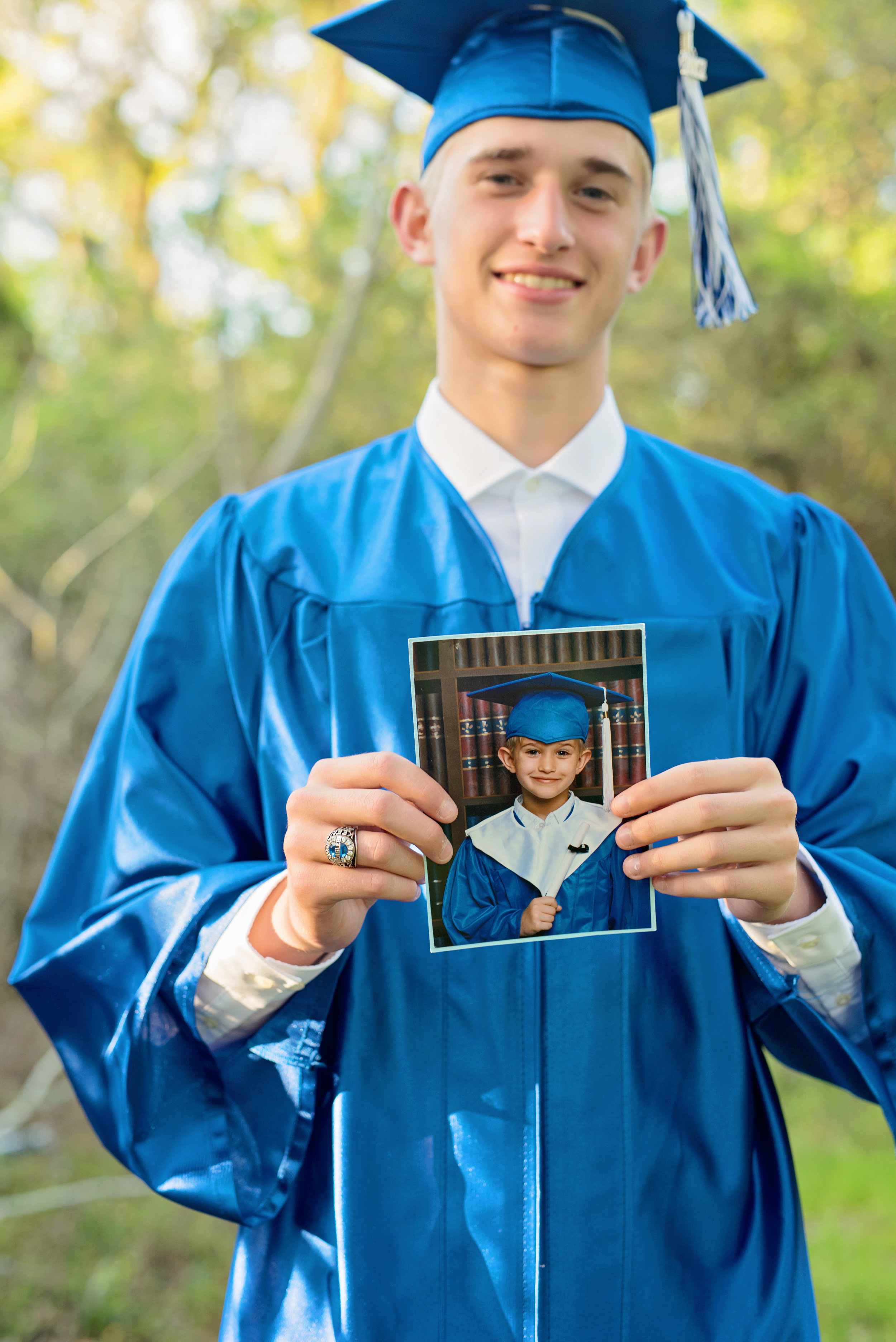 senior cap and gown with kindergarten cap and gown photo