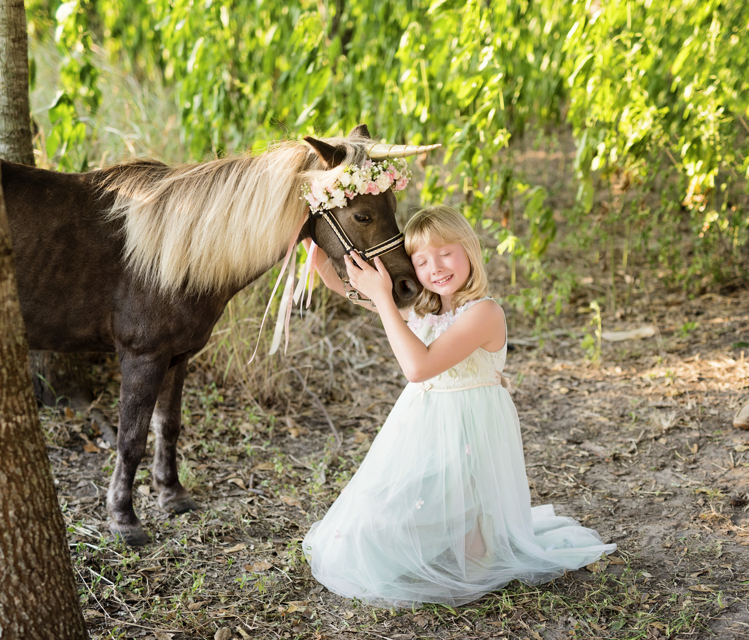 Unicorn mini photos, pony and girls, flower crowns JHP photography