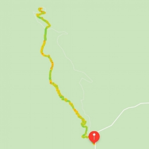 Route tracked using my Apple Watch. You can see how it starts off close to the road and then breaks away before the trail ends at parking lot. The green indicates I was walking faster with yellows and reds for a slower pace or stopping. This tells a lot about a trail because the yellow parts we were climbing and green parts we were walking on flatter ground or walking down a hill.