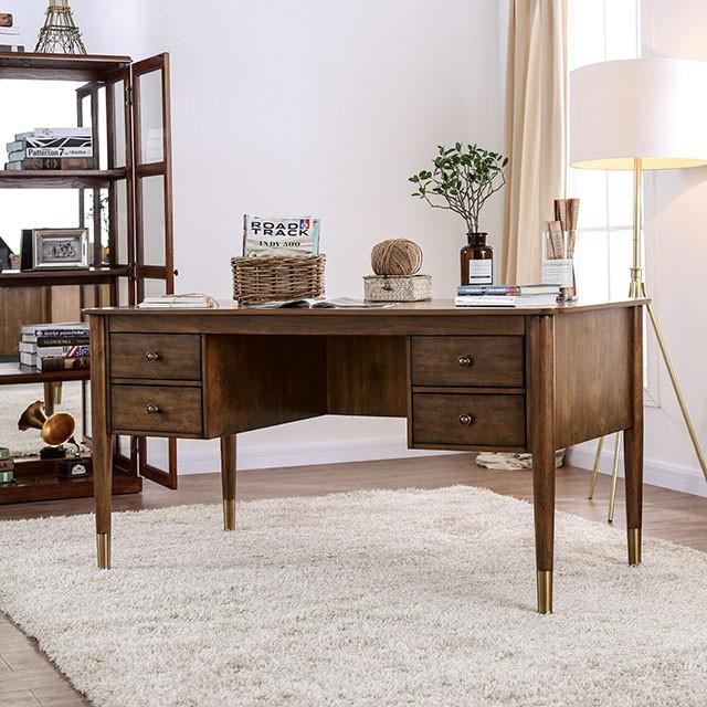 "FACM-DK5056  Transitional  Antique Oak  Storage Desk  Tapered Wooden Legs  Metal Toed Feet  Round Drawer Pulls  60""L X 30""W X 30 1/2""H"
