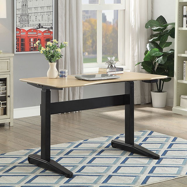 """FACM-DK6092S-BK  Contemporary Style  Adjustable Height  Metal & Others*  AVAILABLE IN OAK/BLACK  WHITE  GRAY   ADJUSTABLE HT. DESK SMALL 47 1/4""""L X 26 3/4""""W X 28 3/4-47 1/4""""H"""