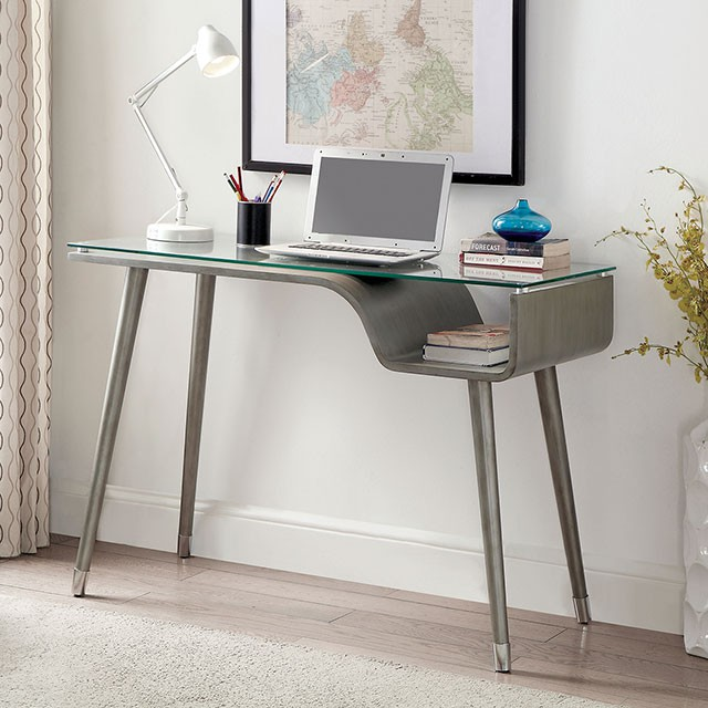 """FAMid-Century Modern Style  8mm Tempered Glass Top  Tapered Legs  Open Shelf  Solid Wood & Others*  Silver Gray Finish  44""""W X 19""""D X 30 1/2""""H"""