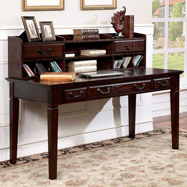 "FACM-DK6384  Transitional Style  Multiple Drawers  Antique Style Handles  Solid Wood, Wood Veneer, Others*  Dark Walnut Finish   Desk 60""L X 28""W X 30 1/4""H  HUTCH: 57 3/4""L X 9""W X 14 3/8""H"