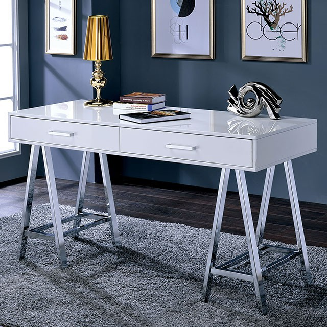 """FACM-DK6133WH  Contemporary Style  Angled Chrome Legs  Metal Hardware  2 Drawers  Metal & Others*  White  ALSO AVAILABLE IN GRAY AND BLACK   54""""L X 22""""W X 31""""H"""