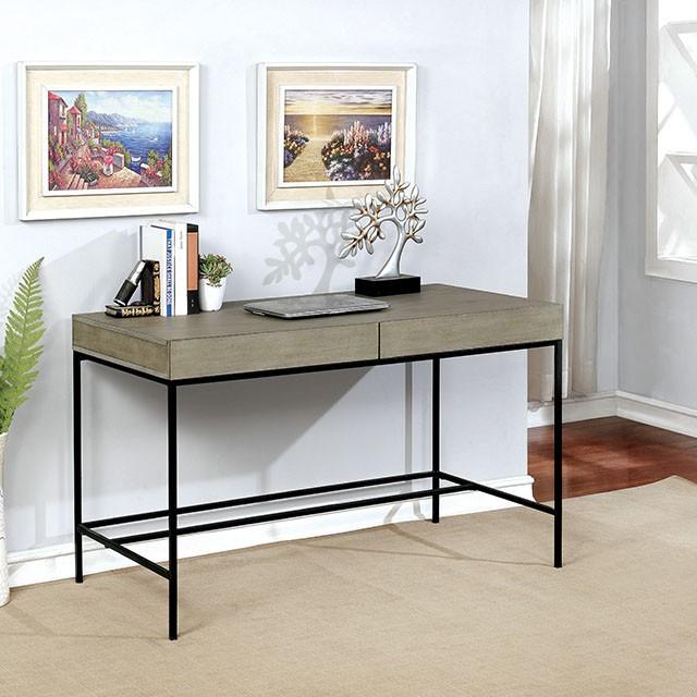 "FACM-DK806GY  Industrial  Light Gray  Metal Framework  Hidden Drawer Storage  Plank Inspired Design  48""W X 24""D X 30""H"