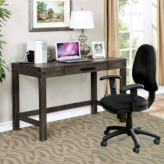 """FACM-DK6450  Rustic Style  Solid Wood/Wood Veneer/Others  Wire-Brushed Dark Gray Finish  Keyboard Tray  Support Beams  Chair sold separately   48""""W X 24""""D X 30 3/4""""H"""