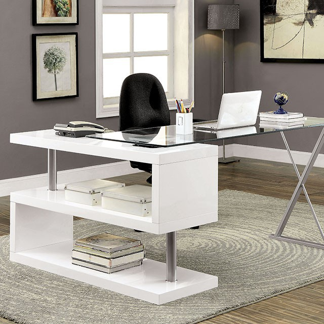 """FACM-DK6131WH  Modern Design  Unique S-Shaped Side Panel  10mm Transparent Tempered Glass  Chrome Accents  Multi Shelf Space  High Gloss Finish  Available in BLACK  Chair sold separately   55 1/8""""L X 23 5/8""""W X 30 3/4""""H"""