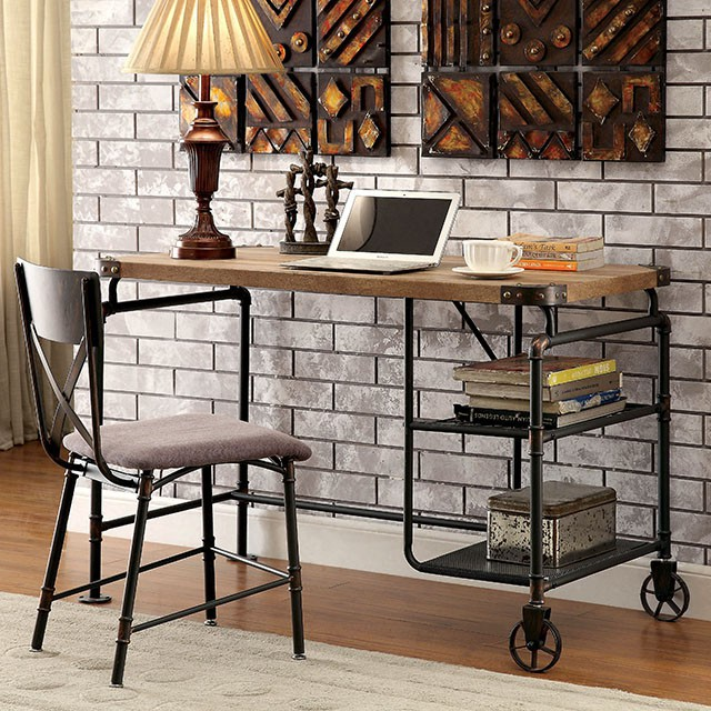 """FACM-DK6913  Industrial Design  Metal Construction  Replicated Wood Top  Antique Black Finish  Chair Sold Separately  47 1/4""""W X 23 5/8""""D X 30 1/8""""H"""