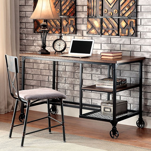 """FACM-DK6276  Industrial Design  Caster Wheel Accents  Wire Shelving  Metal Framework  Antique Black  Metal Corner Accents  Chair Sold Separately  48""""W X 26""""D X 30""""H"""