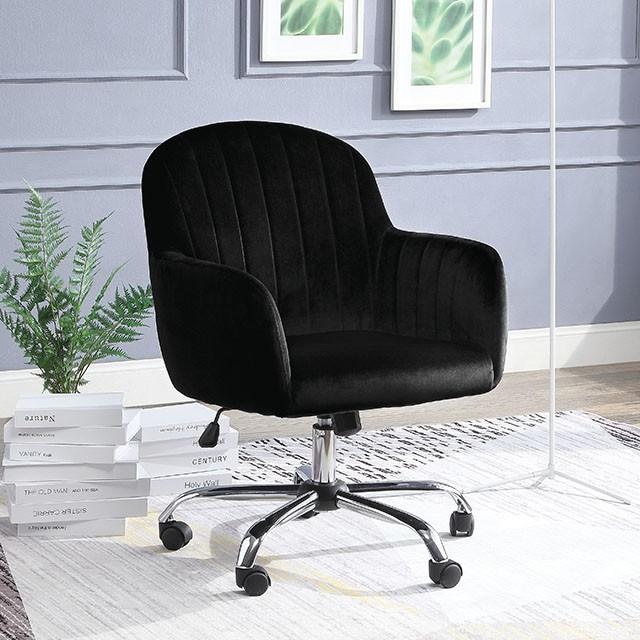 "FACM-AC6534BK  Low Arm Design  Pneumatic Ht. Adjustable Seat  Chrome Leg w/ Casters  Padded Fabric Chair  Black   26 1/2""W X 29""D X 35-38""H"