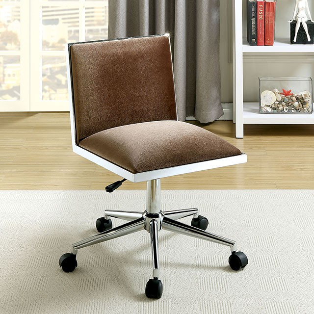 """FACM-FC655BR  Contemporary  Contemporary Style  Armless Design  Pneumatic Ht. Adjustable Seat  Chrome Leg w/ Casters  Padded Fabric Chair  Brown  Available in Black   17 3/8""""W X 22.6""""D X 29 7/8""""H"""