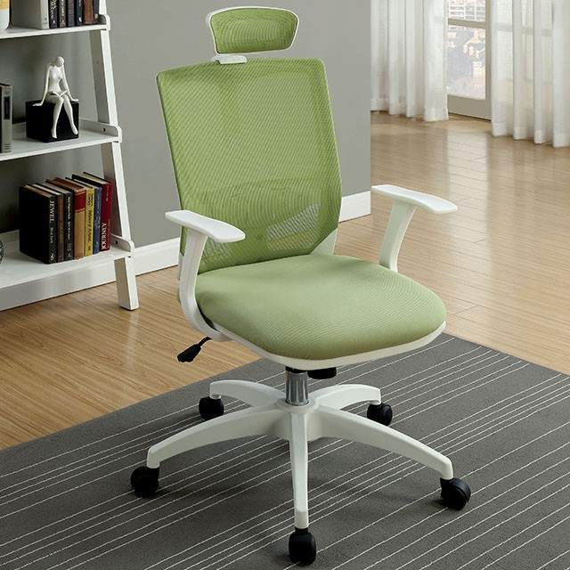 """FACM-FC641GR  Contemporary Style  Height Adjustable Headrest  Mesh Back & Cushion Seat  Adjustable Height  Green  23 1/4""""L X 24 5/8""""W X 41""""H"""