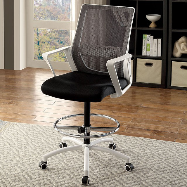 """FACM-FC646WH  Contemporary Style  Armrests  Mesh Back & Cushion Seat  Adjustable Height  Chrome Circle Leg Rest  White  22 3/4""""L X 23 1/2""""W X 48 1/2""""H"""