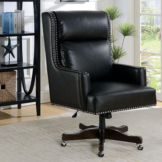 "FACM-FC650  Slit Back Cushions  Breathable Leatherette  Pneumatic Ht. Adjustable Seat  Nailhead Trim  Black  27 1/2""W X 32""D X 44-47 1/8"" H"