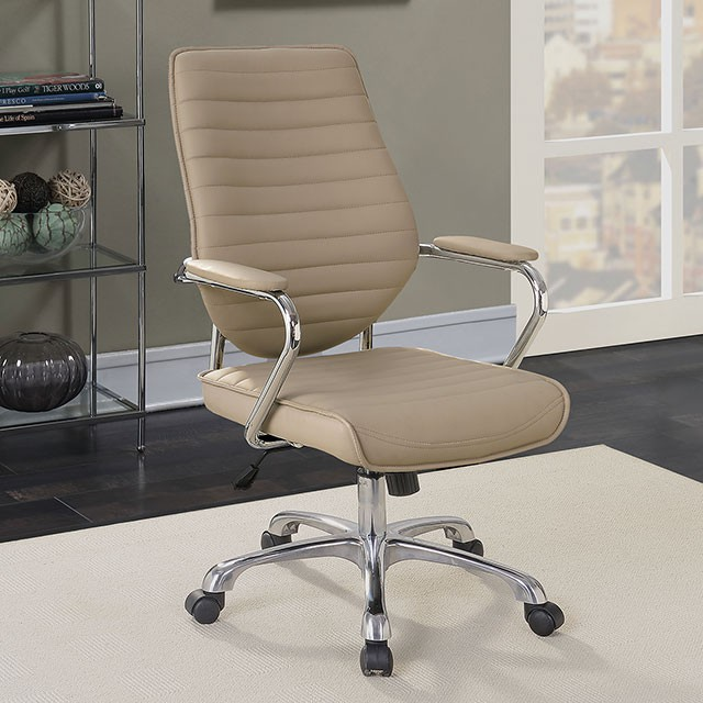 """FACM-FC643MC  Contemporary  Contemporary Style  Padded Armrests  Pneumatic Ht. Adjustable Seat  Chrome Leg w/ Casters  Padded Leatherette Chair  Mocha  25 5/8""""W X 24 7/8""""D X 40 1/4-43 7/8""""H (Seat Ht: 20 5/8-24 3/8"""" Seat Dp: 20 7/8"""")"""