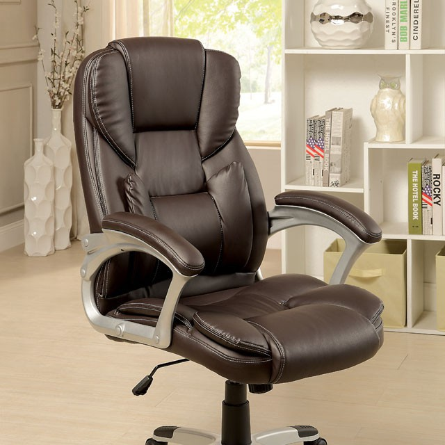 """FACM-FC624  Pneumatic Ht. Adjustable Seat  Padded Armrests  Padded Leatherette Chair  Brown  25 1/2""""W X 29 3/4""""D X 43""""H (UP TO 46 1/2""""H) (Seat HT: 18 - 21 1/2""""H, Seat DP: 20 1/2"""""""