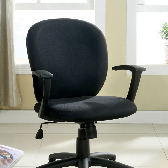 """FACM-FC616  Armrests  Padded Fabric Seat & Back  Pneumatic Ht. Adjustable Seat  Smooth Gliding Casters  Black   24""""W X 22 1/4""""D X 35""""H (UP TO 39 3/4""""H) (Seat HT: 18"""" - 22 3/4"""", Seat DP: 18"""")"""