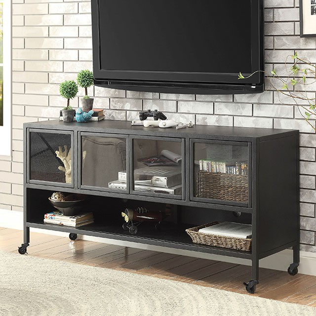 """FACM5907-TV-60  Contemporary Style  Acrylic Cabinet Faces  Open Bottom Shelf  Caster Wheels  60"""" TV STAND  60""""L X 18""""W X 30""""H"""