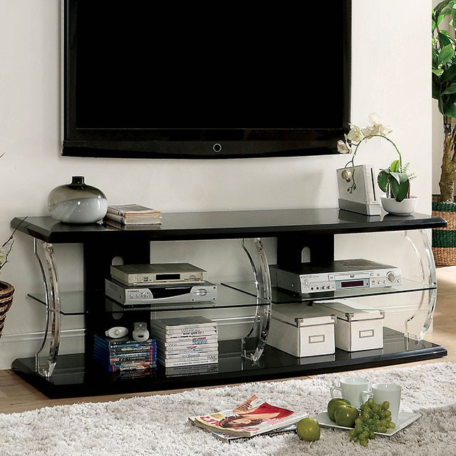 """FACM5901BK-TV-60  Contemporary Style  8mm Tempered Glass Shelf  Acrylic Posts  High Gloss Lacquer Coating  Rear Wiring Access  60'' TV STAND  AVAILABLE IN 72""""   60""""L X 18""""W X 21 3/4""""H"""