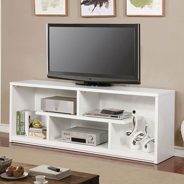 """FACM5044WH-TV    Contemporary Style  Tiered Design  Open Shelves  Metal, Wood Veneer & Others*  60"""" TV STAND  60""""L X 17""""W X 27""""H"""