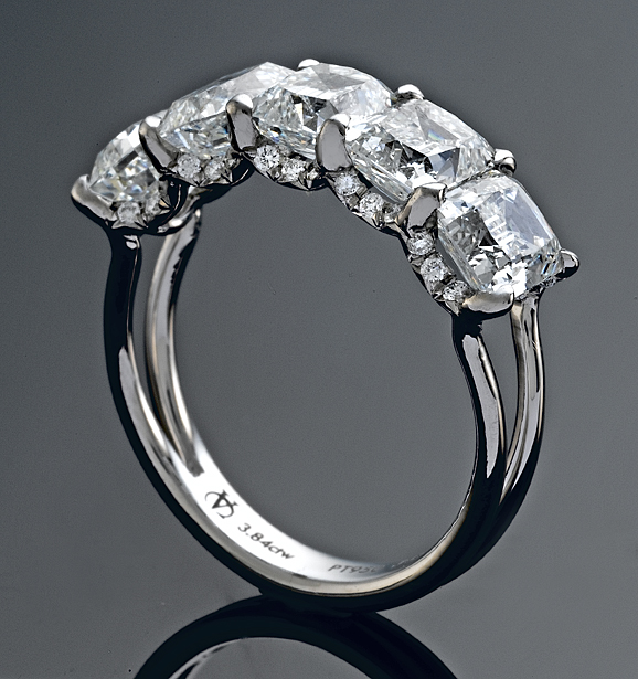 Victorian Cut Diamond Five Stone Ring Side