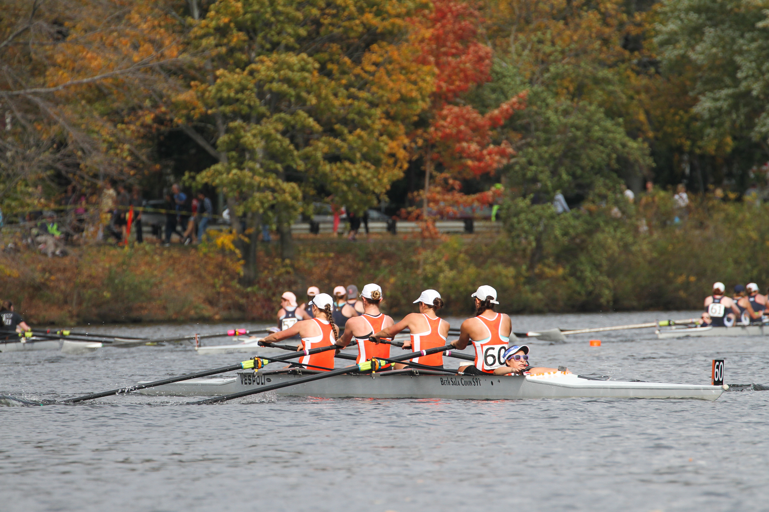 The Princeton lightweight women's 4+, racing in the Club 4 event, approaches the Elliot bridge