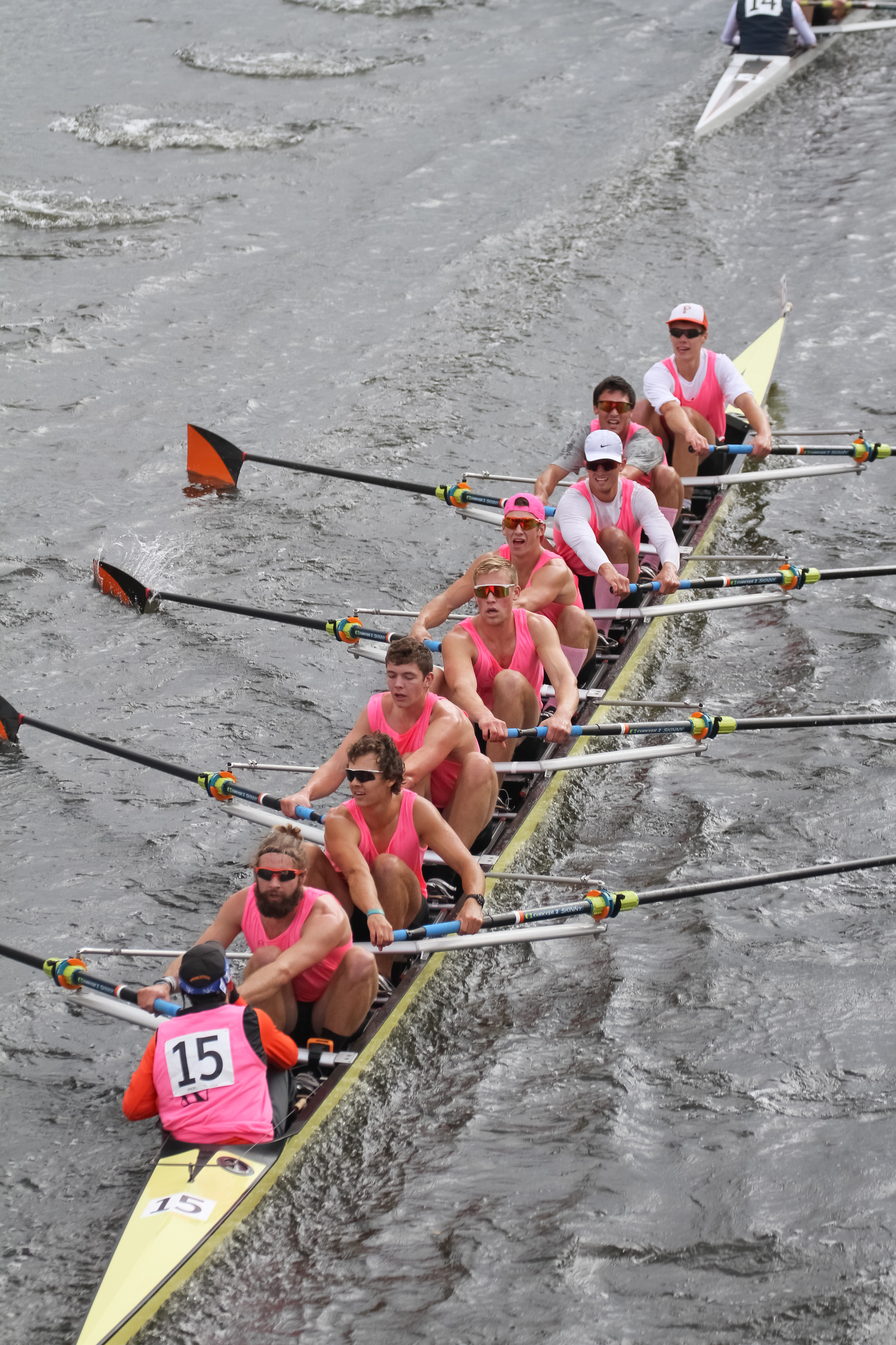 The Princeton heavyweight men chase down Bow #14, California Rowing Club