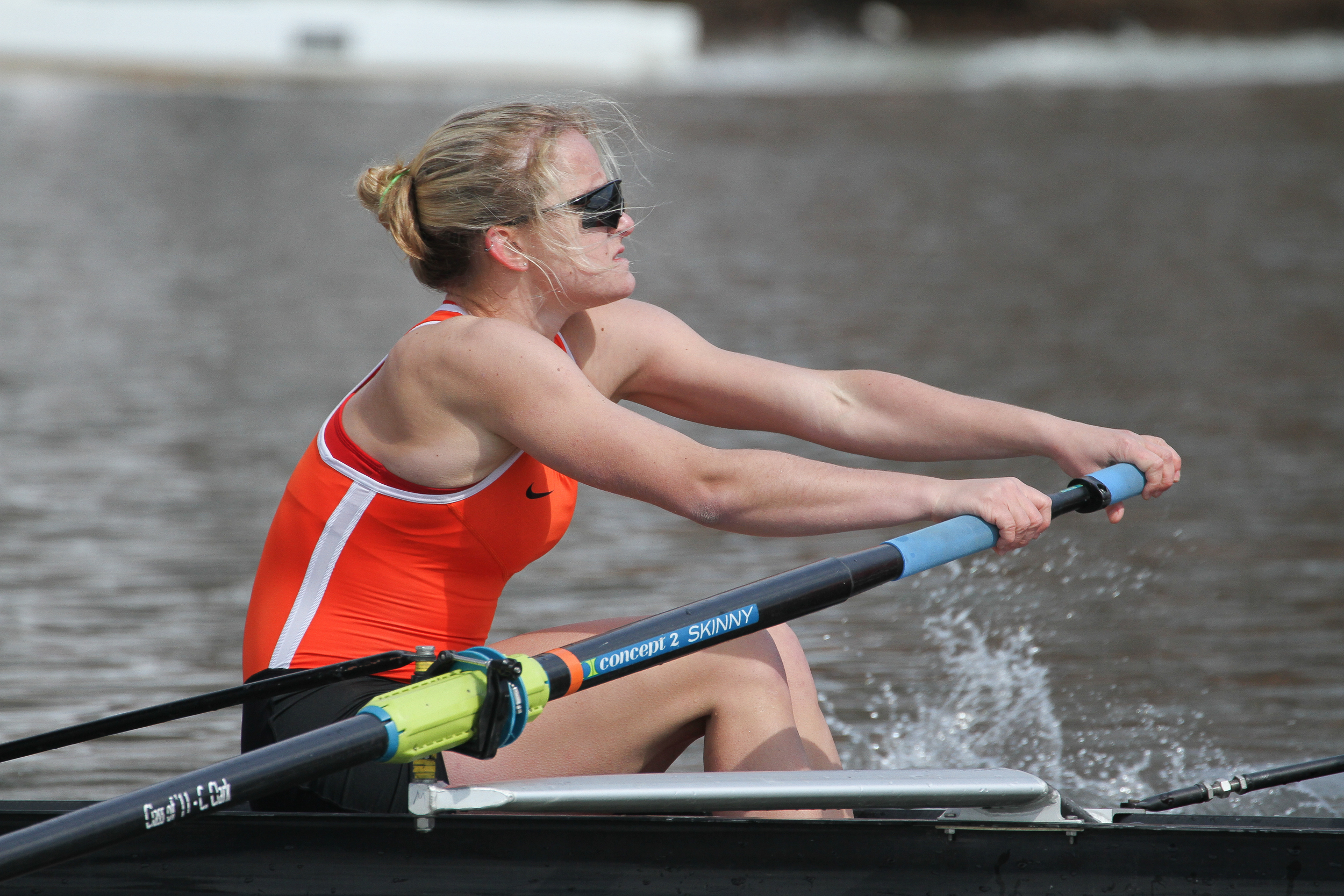 Katie Mirabella '17 rows in the 2V boat