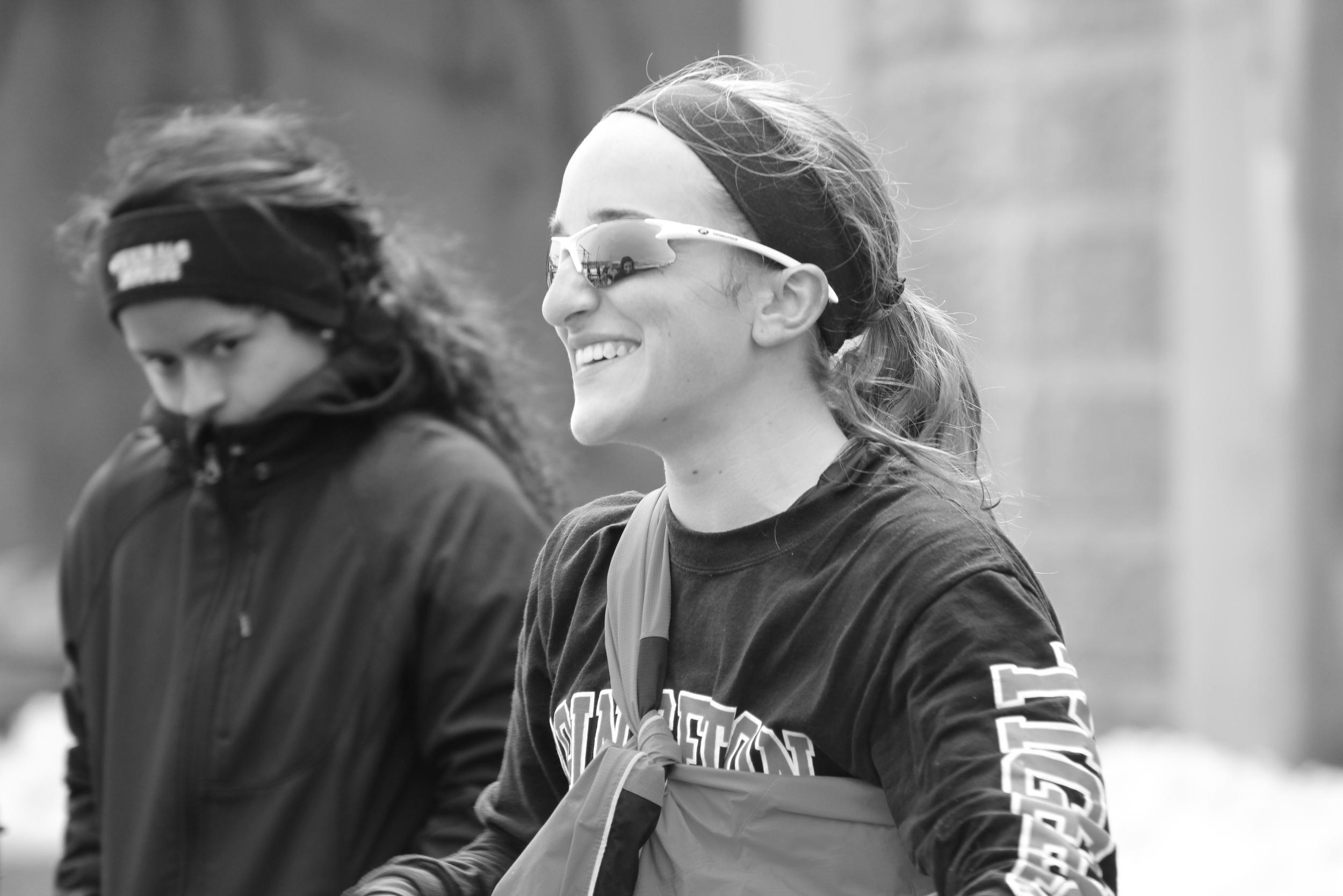Natalie Wertz '18 having fun derigging