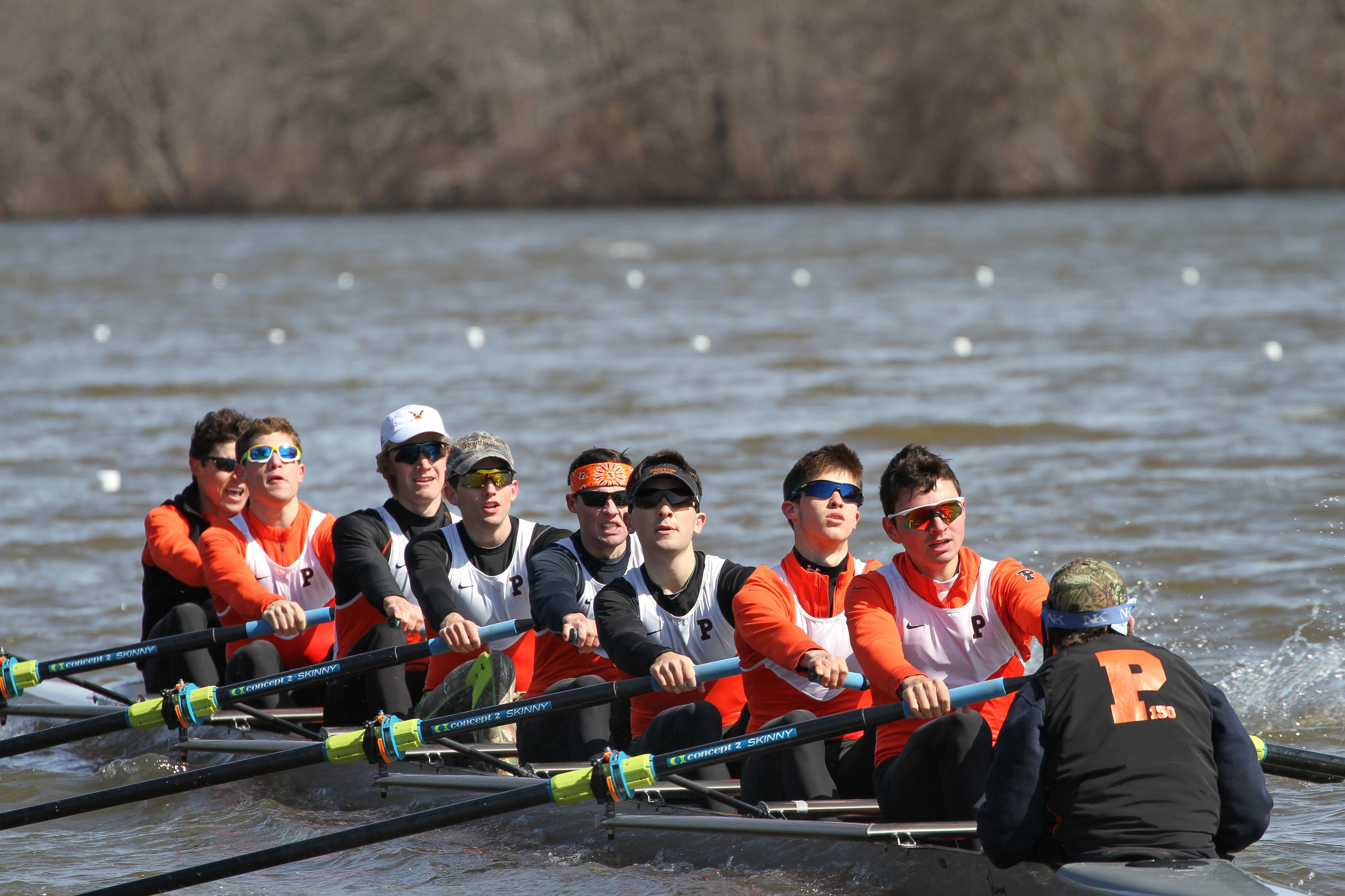Princeton's 3V, stroked by freshman Tyler Valicenti '18, racing to a win over Georgetown