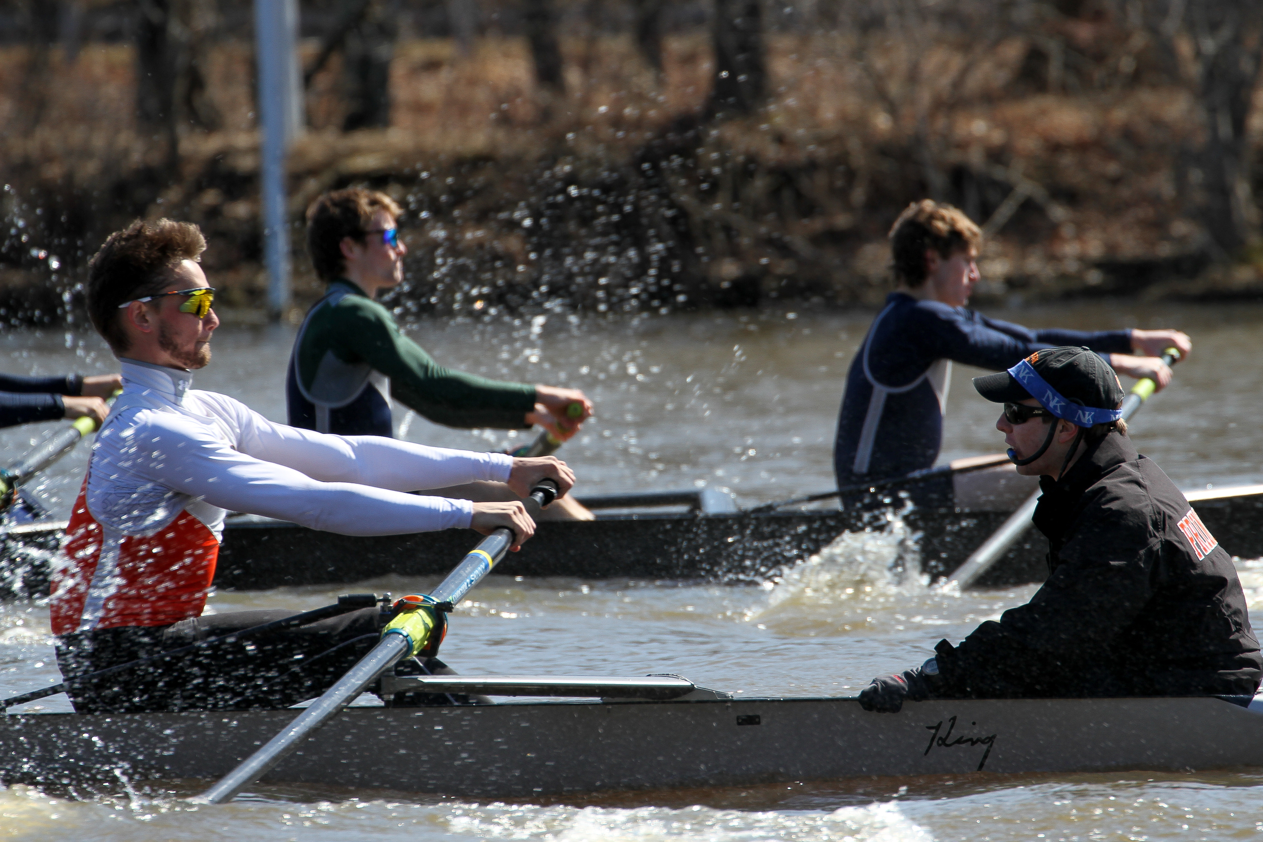 Patrick Watt '18 strokes the Lightweight Men's 2V, coxed by Trip Henningson '16