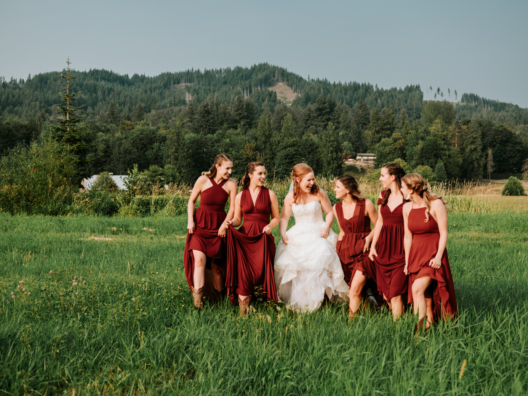 Matching Colors + Mismatched Styles - A very popular trend among designers is to offer varying styles of bridesmaids dresses with the same fabric. Since what is flattering for one girl may not be flattering for the next, this is a great way to make sure everyone is as comfortable with their dress as possible!