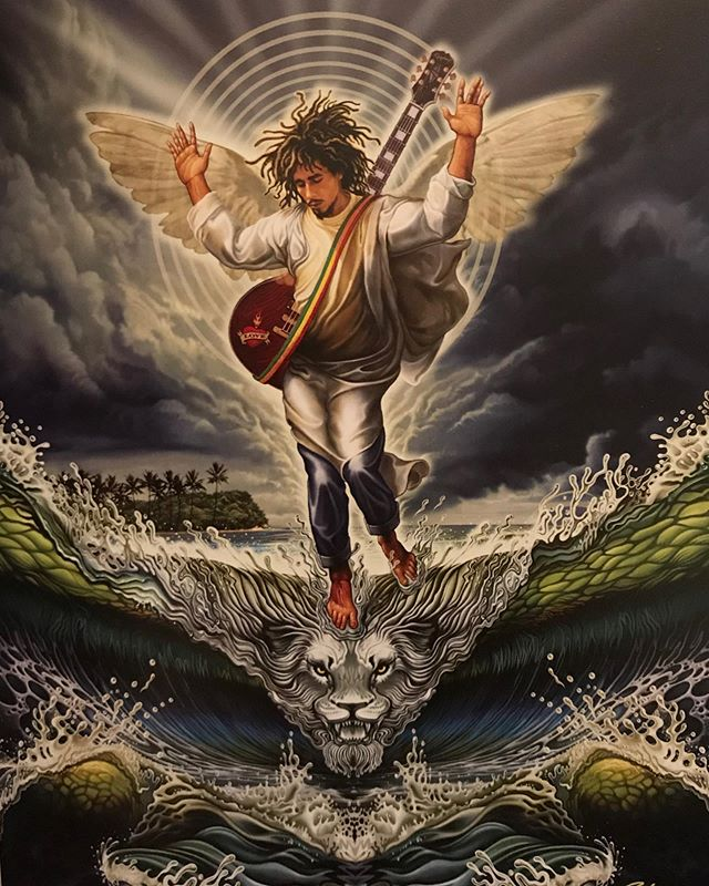 Saint Bob... Forgot to tag artist. Later. . . . #bobmarley #reggae #king #rasta #ja #jamaica #roots #onelove #illustration #painting