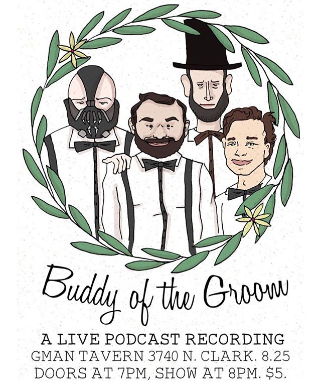 Boom!💥 Buddy of the Groom: A Live Podcast Recording goes down Sunday, August 25 at @gmantavern  You read right. @themikeokeefe's @multipleidiots and @mkb.comedy's @traveldisasters are bringing it to you LIVE!!! Bring all your podcast obsessed friends and comedy mavens for a seriously kick ass night of entertainment. Dare we say it? F*ck yeah! TICKET LINK IN BIO • • • #podcast #livepocast #podcastlive #chicagopodcast #chicagopodcasts #podcaststudio #comedy #comedians #chicagocomedy #drawing #illustration #abelincoln #bain #batman #fun