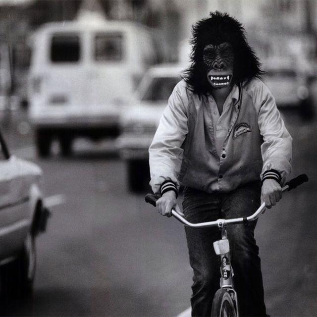 Ridin' outta work like... . . . #gorilla #ape #monkey #mask #bike #blackandwhitephotography #clockout #happiness #fun #nomorework #weouthere