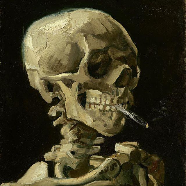 Have a smokin' Halloween, kidz. 🎃 . . . #happyhalloween #halloween #skull #vangogh #smoking #420
