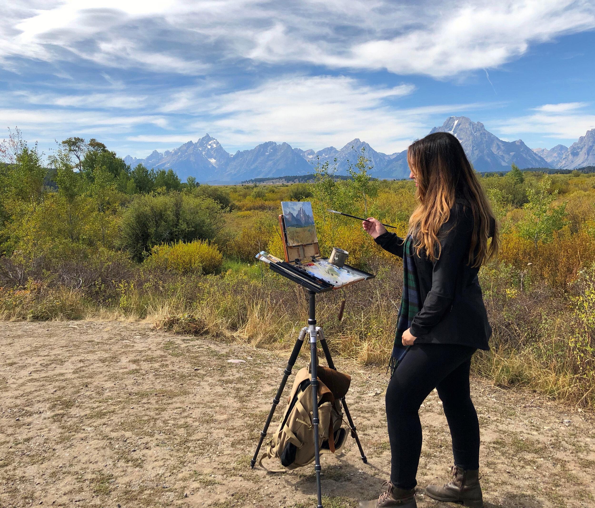 Michelle Dunawy  using her custom PassPort at the Grand Teton National Park