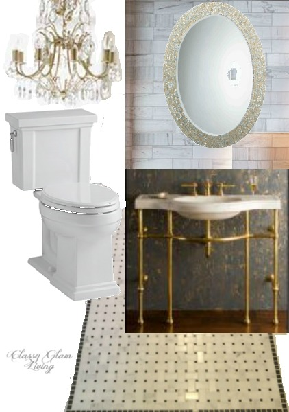 Black White Gold Powder Room Board | Classy Glam Living