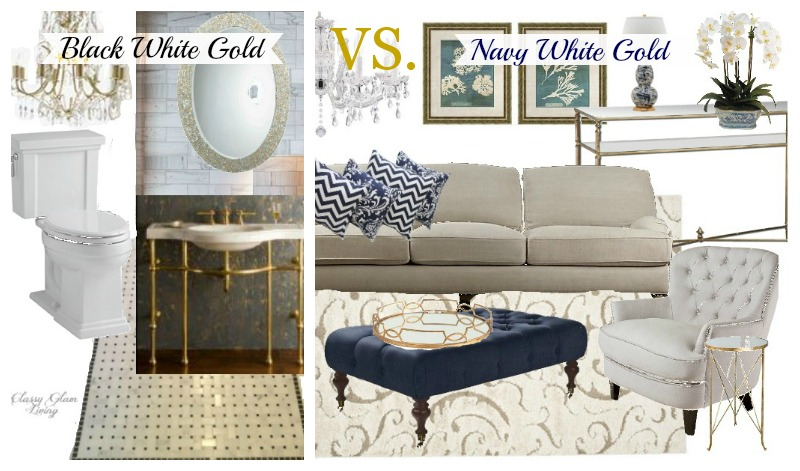 Black White Gold vs. Navy White Gold Decor | Classy Glam Living