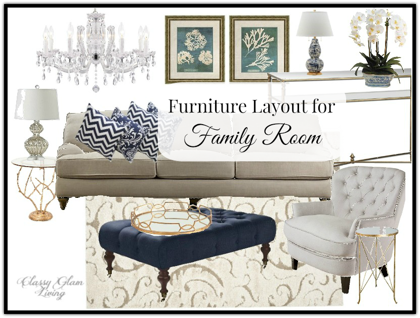 Family Room Furniture Placement | Classy Glam Living